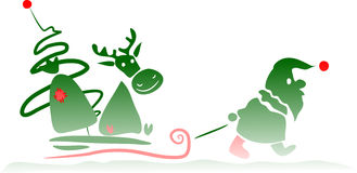 Santa Claus dragging his deer Royalty Free Stock Image
