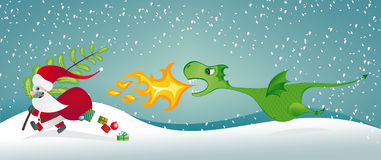 Santa Claus and the Dragon. Santa Claus escaping from a fire-breathing dragon Stock Photo