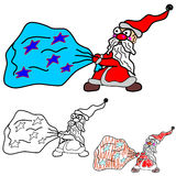 Santa Claus drags a bag. Vector illustration on which the cartoon Santa with a big bag of gifts Royalty Free Stock Photo