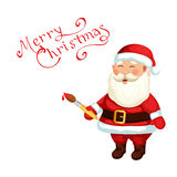 Santa Claus draw a holiday congratulation Royalty Free Stock Photography