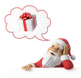 Santa Claus is dreaming about presents. 3d image with work-path Royalty Free Stock Photography