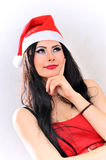 Santa claus dreamy girl Royalty Free Stock Photos