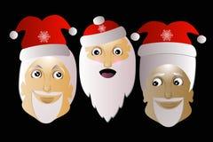 Santa Claus drei zusammen auf einem schwarzen Hintergrund Stockbild
