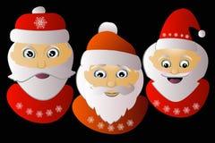 Santa Claus drei zusammen auf einem schwarzen Hintergrund Stockfotografie