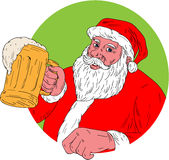 Santa Claus Drinking Beer Drawing Immagini Stock
