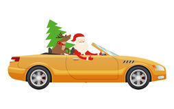 Santa Claus Drive on Cute Luxury Car with Reindeer. Santa Claus drive on cute yellow luxury car with reindeer and green fir tree. Santa prepares cute present for Royalty Free Stock Image