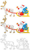 Santa Claus drives in sleigh with reindeer. High resolution clip-arts (black-and-white and color): Santa Claus holding the bag with Christmas gifts drives in Stock Image