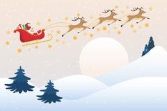 Santa Claus drives sleigh with reindeer on the full moon sky, flat cartoon vector illustration