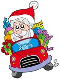 Santa Claus driving car Royalty Free Stock Photos