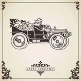 Santa Claus driving a car. Christmas card. Christmas card vector with Santa Claus driving an old car full of gifts. Vintage card. Transportation concept Stock Photos