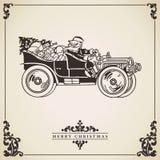 Santa Claus driving a car. Christmas card. Stock Photos