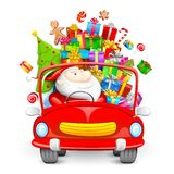 Santa Claus driving car with Christmas gifts. Illustration of Santa Claus driving car with Christmas gift Royalty Free Stock Image