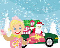 Santa Claus driving car with Christmas gifts Royalty Free Stock Images