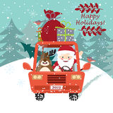 Santa Claus driving the car with a cute deer Royalty Free Stock Images
