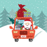 Santa Claus driving the car Stock Photos