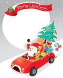 Santa Claus Driving Car With Reindeer royalty-vrije illustratie