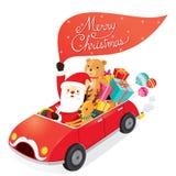 Santa Claus Driving Car With Reindeer vector illustratie