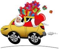 Santa Claus Driving Car Xmas Gifts Geïsoleerde Snelheid stock illustratie