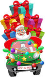 Santa Claus Driving Car Xmas Gifts Isolated Deliver Stock Photography