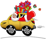 Santa Claus Driving Car Xmas Gifts Isolated Speed stock photos