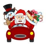 Santa Claus Driving een Rode Auto samen met Rendier, Sneeuwman en brengt Vele Giften stock illustratie