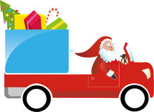 Santa Claus Driving Gift Truck Royalty Free Stock Images
