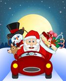 Santa Claus Driving a Green Car Along With Reindeer, Snowman, Children, and Full Moon Stock Photos