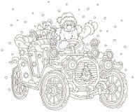 Santa Claus driving his car with Christmas gifts vector illustration