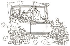 Santa Claus driving his car with Christmas gifts stock illustration