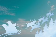 Santa Claus Driving in a Sledge. On green background Stock Photos