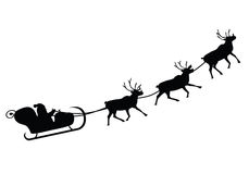 Santa Claus driving in a sledge. (Vector illustration Royalty Free Stock Photo