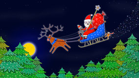 Santa Claus driving in the sleigh with Reindeer Stock Image