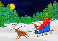 Santa Claus driving in the sleigh with Reindeer Royalty Free Stock Photos