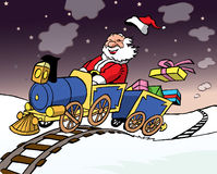 Santa Claus driving a train with gifts Royalty Free Stock Photos