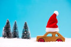 Santa Claus driving trhough winter forest royalty free stock image