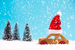 Santa Claus driving trhough winter forest stock photos