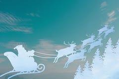 Santa Claus Driving In un trineo stock de ilustración