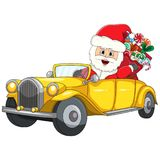 Santa claus driving a car christmas cartoon Royalty Free Stock Image