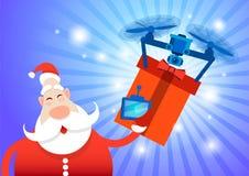 Santa Claus Drone Delivery Present ferie för glad jul för nytt år stock illustrationer