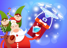 Santa Claus Drone Delivery Present, New Year Merry Christmas Holiday royalty free illustration