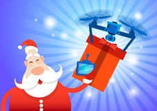 Santa Claus Drone Delivery Present, New Year Merry Christmas Holiday Stock Image