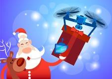 Santa Claus Drone Delivery Present, vacances de Joyeux Noël de nouvelle année Photographie stock