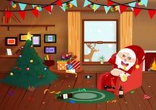 Santa Claus drunk on Christmas night, flat interior, party celebration cartoon poster, postcard, winter holiday season background royalty free illustration