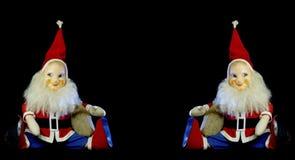 Santa Claus dulce en vintage-modell en fondo negro Espacio del texto en el centro imágenes de archivo libres de regalías