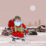 Santa Claus at the dump wrecked cars nuclear winter postapokalipsisa Royalty Free Stock Image