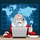 Santa Claus on duty. Illustration with Santa Claus on duty who sits in Christmas head office drawn in cartoon style royalty free illustration
