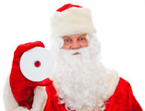 Santa Claus with a DVD drive in hand Stock Photography