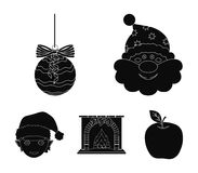 Santa Claus, dwarf, fireplace and decoration black icons in set collection for design. Christmas vector symbol stock web. Santa Claus, dwarf, fireplace and Stock Image