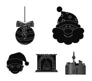 Santa Claus, dwarf, fireplace and decoration black icons in set collection for design. Christmas vector symbol stock web. Santa Claus, dwarf, fireplace and Royalty Free Stock Photography