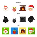Santa Claus, dwarf, fireplace and decoration cartoon,black,flat icons in set collection for design. Christmas vector. Symbol stock  illustration Royalty Free Stock Photo